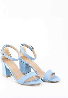 Bebe Mavisi Süet Tek Bantlı Bayan Topuklu Rahat Ayakkabı - Hashok