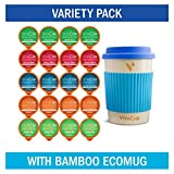 VitaCup Variety Pack w/ Bamboo ecoMug + 20 Vitamin Infused Coffee & Tea Pods Compatible with Ke…