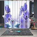 JZDH Duschvorhang für Badezimmer Blaue Blumen Schöner Schwan Muster Duschvorhang, Digitaldruck-wasserdichter Duschvorhang Mit 12 Haken