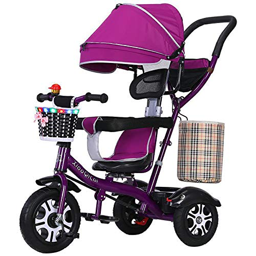 SSRS kinderwagen, driewieler, 4 in 1, kinderfiets, baby, peuters, met stuurbare duwstang, met fluisterstille rubberen banden en zonnedak voor jongens en meisjes vanaf 12 maanden -5 jaar
