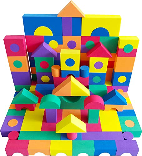 EWONDERWORLD 100 Piece Premium Quality Non-Toxic Foam Building Wonder Blocks – Building Toys, Foam Blocks for Kids & Toddlers, Children's Playtime Blocks