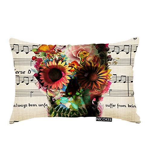 Nicokee Throw Pillow Cover Music Note and Cool Floral Sugar Skull Decorative Pillow Case Home Decor 20x12 Inches Pillowcase