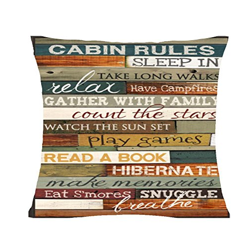 FELENIW Retro Cabin Rules be Relax Enjoy The Holiday Throw Pillow Cover Cushion Case Cotton Linen Material Decorative 18' x18'' Square (6)