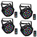 Rechargeable Par Lights, LaluceNatz 24 RGBW LED Stage Lights DJ Uplighting with DMX, Remote, Static Colors & Dynamic Modes for Events, Wedding, Church, Venue, Concert, Party, Stage Lighting(4pcs)
