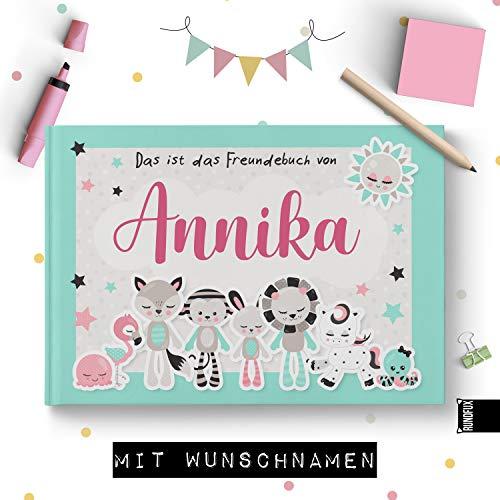 Großes Freundebuch für Mädchen mit Tieren in Pastelltönen | Personalisiert mit Wunschnamen - Jedes Buch EIN Unikat für Schule und Kiga