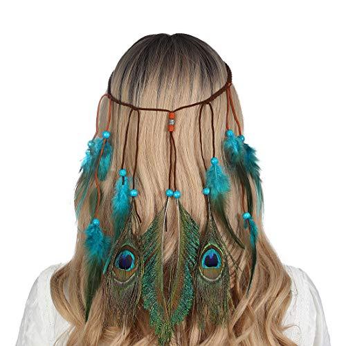 AWAYTR Federn Stirnbänder Hippie Boho Holzperlen Niedlich maskerade Karneval Kopfstücke (Blau)