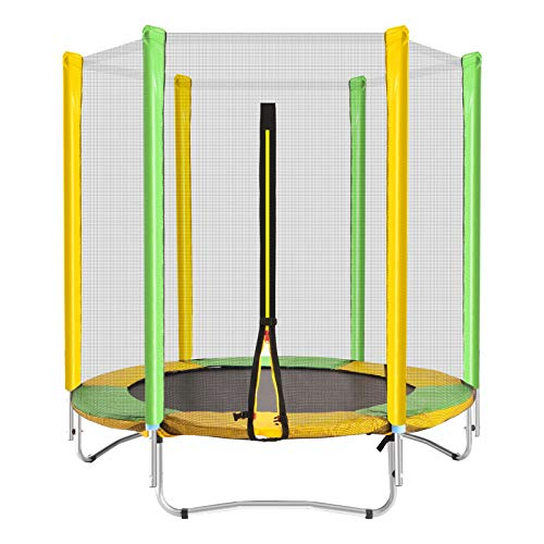 STULANBO 5FT Trampoline with Safety Enclosure Net,Recreational Trampoline Jumping Mat and Spring Cover Padding,600LB Weight Limit for Kids