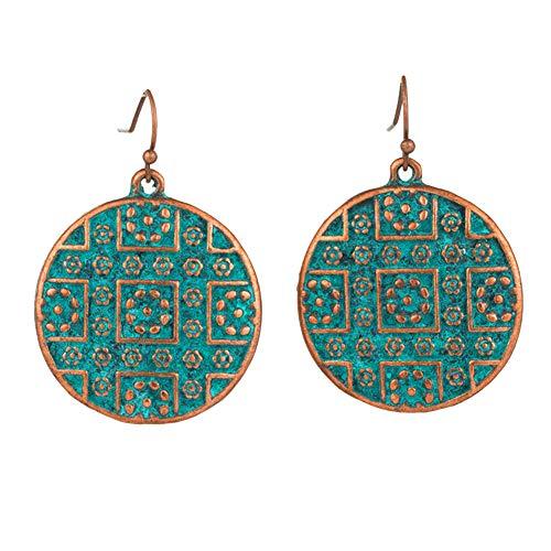 Muzhili3 Damen Ohrringe Vintage Bohemian Boho Ethnic Style Piercing Runde Schnitzhaken Ohrringe – Antikes Bronze Ancient Bronze