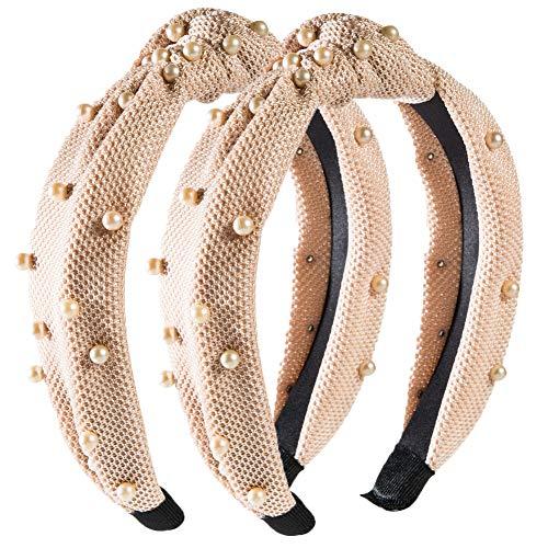 Perles nouées cerceaux de cheveux lavage bandeau bandes de cheveux rétro avec fausse perle coiffure élastique cerceau de cheveux turban pour dames (2pcs Beige)