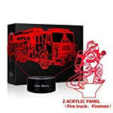 3D Lamp LED Fire truck Nightlights or Firemen Shape Sleeps Illusion Touch Lamp Night Light Dimmable 7 Color Visual Light Kids Bedside Nightlight Firemen Decor Christmas Kids' Room Fire truck Room Gift