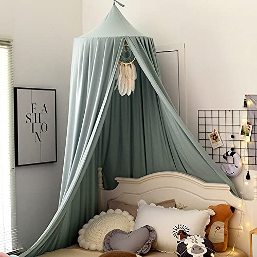 Lsimeru Groß Baby Betthimmel Baldachin Staubiges Grün Junge Mädchen Kinder Baby Bett Hängendes Rund Deko Moskitonnetz Mückennetz Spielzelte für Spielzimmer Saumlänge 400cm