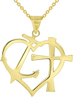Solid 14k Yellow Gold Cross Anchor Heart Faith Hope and Love Silhouette Pendant Necklace