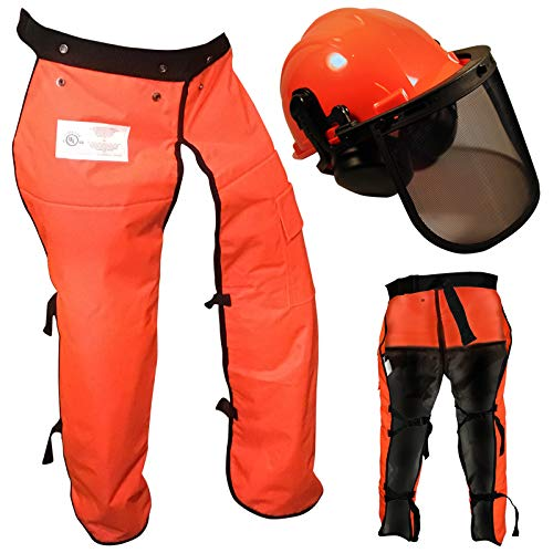 """Chain Saw Safety Chaps 36"""" Leg Plus Deluxe Safety Helmet"""