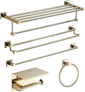 YWSZJ Salle de Bain Complet en cuivre Porte-Serviettes de Bain Porte-Serviettes Perforation Gratuite européenne dorée étag...