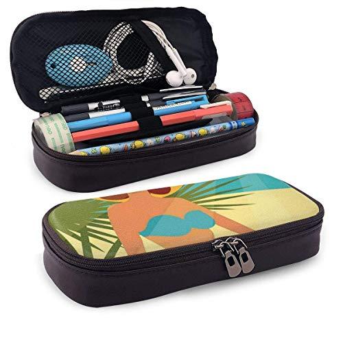 Estuche de lápices de cuero Pencil bag, estilo años 50 Mujer con bikini azul sin tirantes y un sombrero en una playa exótica, Estuche de oficina para estudiantes, 7.8 'x4.5' x1.5 '