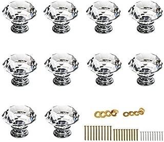 Sumnacon 10 Pcs 40MM Clear Crystal Door Knobs - Diamond Wardrobe Doorknob/ Crystal Drawer Knobs / Cabinet Handle Pulls / Cupboard Handle Knobs / Door Pull Handle with Screws with 3 Kinds Screws