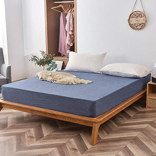 FJMLAY Sábanas bajeras de algodón Lavado, Protector de colchón Antideslizante para Dormitorio Apartment-Blue_2_180cmx200cm