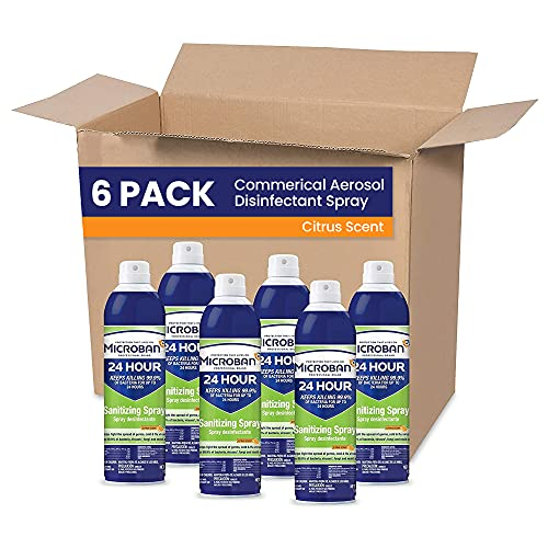 MICROBAN Aerosol Disinfectant Spray, 24 Hour Sanitizing and Antibacterial Spray, Citrus Scent, Pack of 6, 15 fl oz. Each