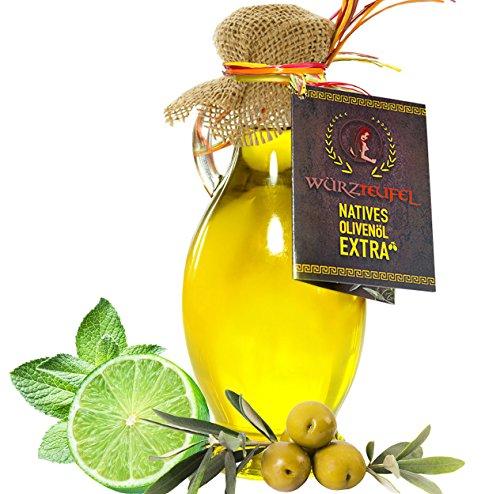 Limettenöl, natürliches Limetten - Öl aus Nativem, Extra Vergin Olivenöl, Griechenland. Ungefiltert. Kaltgepresst. Traditionelle Herstellung im Familienbetrieb. AMPHORE IRGIZIA - Flasche 250ml.