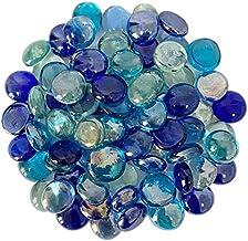 100PCS Mixed 4 Gradient Blue Colors Glass Beads Flat Gems Aquarium Pebbles Decorative Florist Supplies Table Scatter Decor Pebbles for Vases WLYTE Flat Glass Marbles 1lb Vase Filler