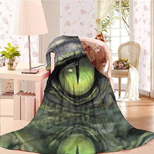 """alisoso 54"""" W x 84"""" L Reptile Fleece Blankets Ultra Luxurious Warm Wild Crocodile Sketch Eye"""