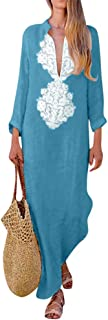 Women'S Fashion Printed Long Sleeve V-Neck Silky Vintage Elegant Maxi Dress Split Hem Baggy Kaftan Long Dress