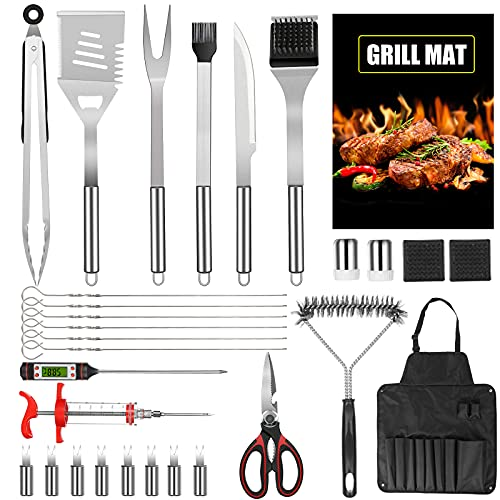 MPBEKING Grill Accessories, 30PCS Stainless Steel BBQ Tools Set for Men & Women,Grilling Accessories with Storage Apron Gift Kit for Smoker,Camping,Kitchen,Backyard Barbecue