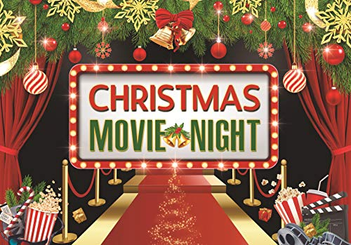 Allenjoy 7x5ft Christmas Movie Night Party Backdrop Hollywood Theme Photography Background Merry Xmas Gift Ideas Winter Holiday Friend Family Event Decoration Supplies Photo Booth Props