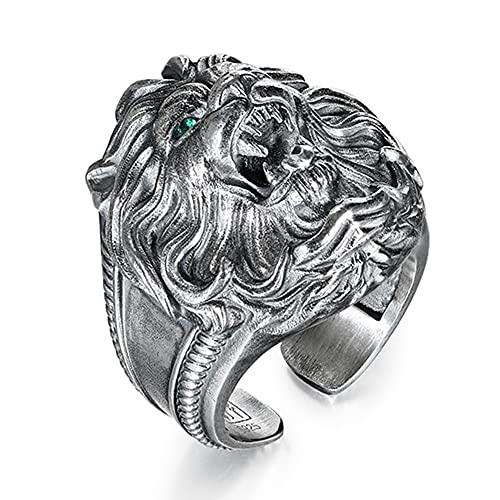 YABEME Anello Uomo 925 Sterling Silver Lion Head Ring, Occhi Smeraldo Intarsiati Vintage Heavy Metal Rock Punk Gothic Biker Style Finger Jewelry, Regalo per Padre Amico