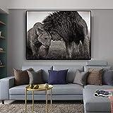 Peinture sans Cadre Tête de Lion et tête Noir et Blanc Affiche d'art sur Toile et Impressions Murale du salonCGQ7558 50X87cm