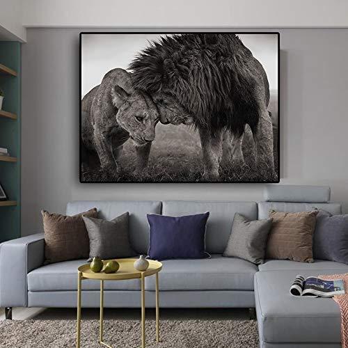 ganlanshu Rahmenlose Malerei Löwenkopf und Kopf Schwarzweiss-Leinwandkunstplakat und druckt WohnzimmerwandbildCGQ7556 30X52cm