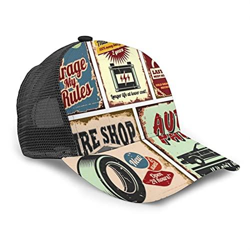 Cappellino da Baseball per Uomini Donne Rete Posteriore Snapback,Cartelli e Poster in Metallo di Servizio Auto d'Epoca,Cappello da Camionista Sport all'Aria Aperta per i Viaggi