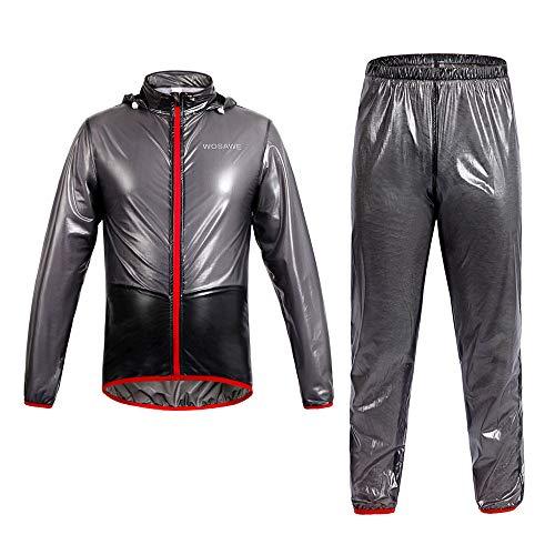 WOSAWE Herren Regenanzug, wasserdichte Winddicht Hooded Regenmantel Leicht Atmungsaktiv Fahrradjacke + Regenhose (Schwarz XL)
