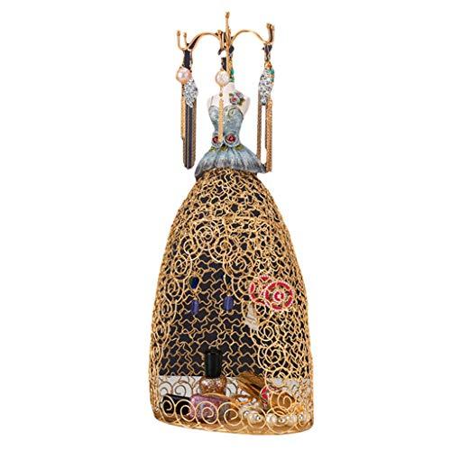 GuoYQ Collar Anillo Joyería Soporte Exhibición Princesa Vestido Collar Joyería Soporte, Estante Creativo de la Joyería del Bolso de Red del Vestido de la Princesa