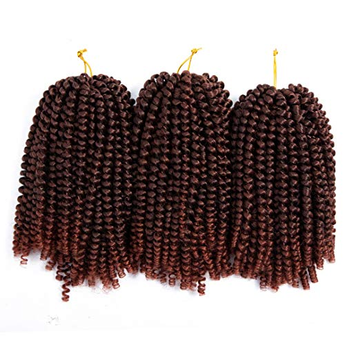 Spring Twist 3 Pcs Crochet Braids Synthetic Hair 8 Inch Jumbo Twist Braiding Hair Extensions (3pc, T1B/350)