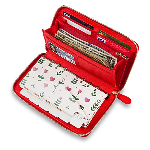 Cash Envelope Wallet Red All in One Budget System with 12x Tabbed Cash Envelopes, 12x Monthly Budget Cards,1x Yearly Budget Planner Sheet Complete Money Organizer Set for Cash