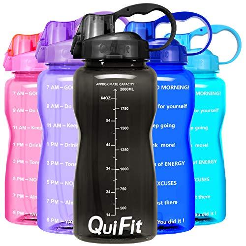 QuiFit 2l Sports Bouteille d'eau avec Paille Un Marqueur de Temps Motivant Bouteille d'eau Anti-Fuite Bouteille à Eau Réutilisable (Black) (Divers)