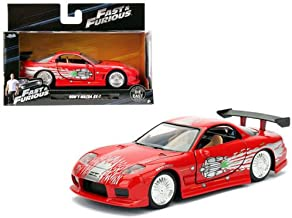 NEW 1:32 JADA TOYS COLLECTOR'S SERIES FAST & FURIOUS - RED DOM'S MAZDA RX-7 Diecast Model Car By Jada Toys