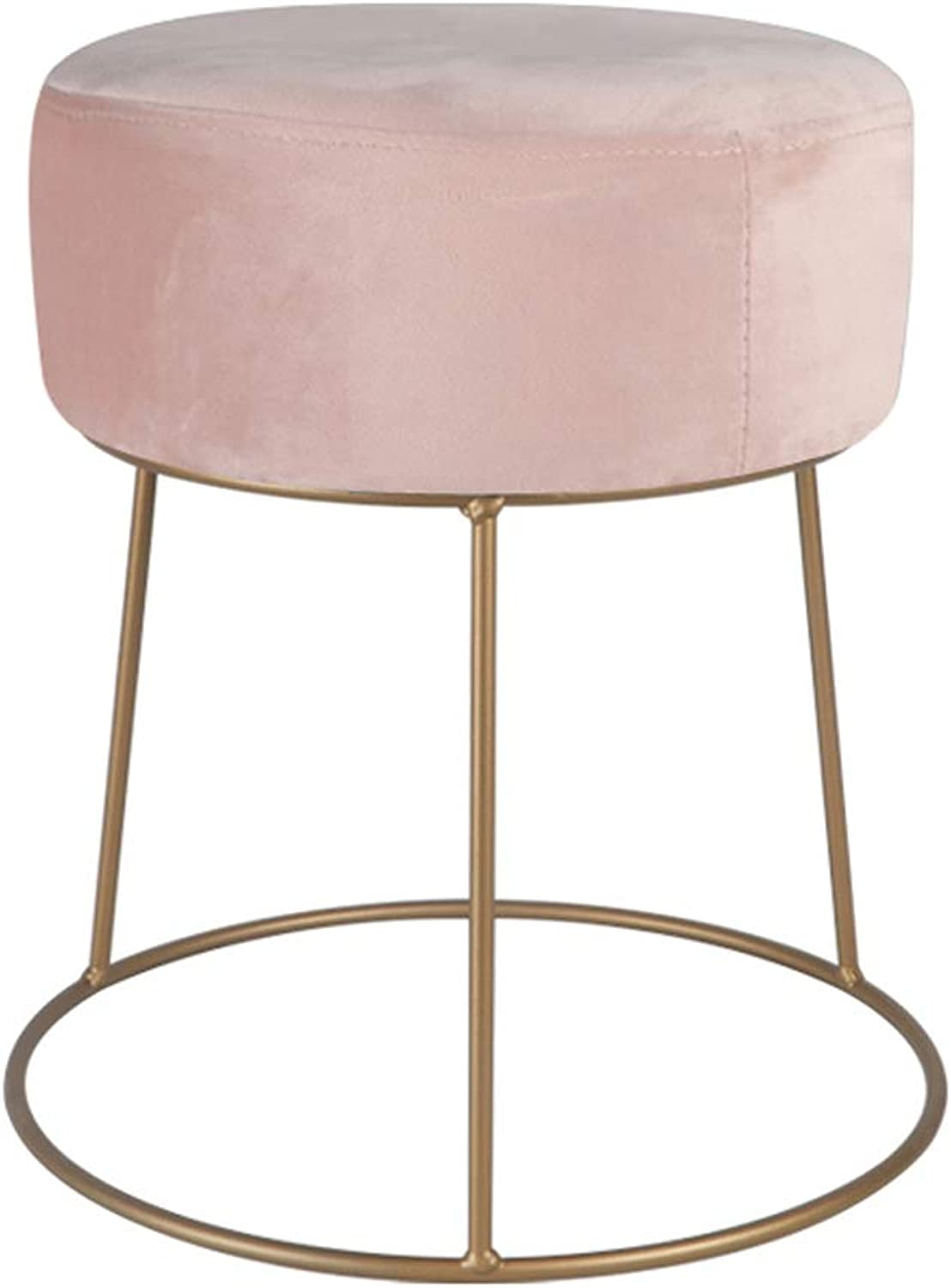 Iron Dressing Stool Round Stool, Simple Home shoes Bench, Stylish Fabric Footstool, Suitable for Living Room, Bedroom, Dining Room (Pink)