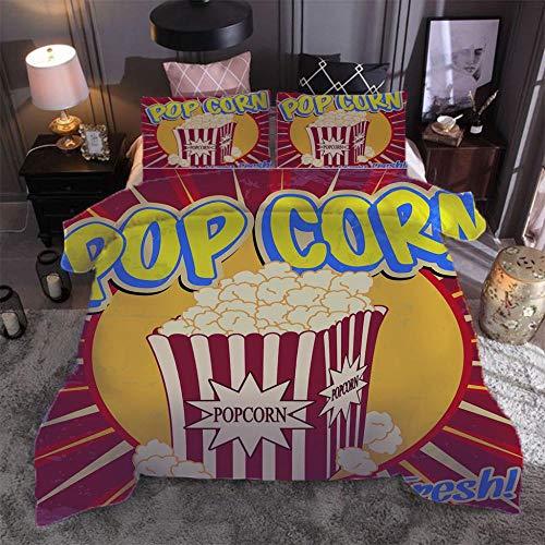 Popcorn Copripiumino-200x200cm Set di Biancheria da Letto in 3 Pezzi Copripiumini Chiusura a Cerniera copripiumone Microfibra Morbido Anallergico con 2 federe(50X75cm)