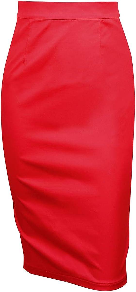 YARN & INK Women's Bodycon Pencil Skirt Work Office Stretch Straight High Waist Below Knee midi Skirt with Slit