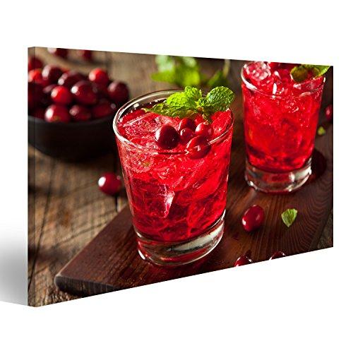 islandburner Bild Bilder auf Leinwand Hausgemachter Boozy Cranberry Cocktail mit Wodka und Minze Wandbild Leinwandbild Poster DPC