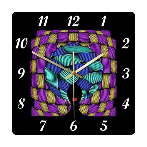 hufeng Reloj de Pared Retrato de Mujer Africana Reloj de Pared Piel Oscura Rostro Femenino Afro Cabello Rizado Estilo Africano étnico Decoración del hogar Relojes Colgantes