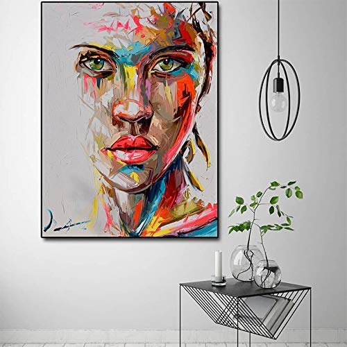 wZUN Cartel Colorido Abstracto de la Pintura al óleo del Retrato de Las Mujeres en la Lona e Imagen Impresa del Arte de la Pared para la decoración del hogar 60X90 Sin Marco