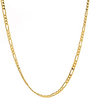 FZTN Jewelry Gold Figaro Link Chain Necklace for Men Women & Teens Boys 18K Gold Plated Stainless Steel Necklace,Fashion J...