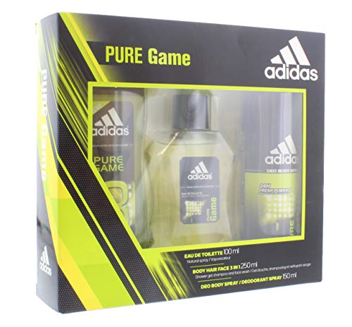 ADIDAS PURE GAME EDT 100ML VAPO + DEO SPRAY 150 ML+ GEL DUCHA 250 ML.
