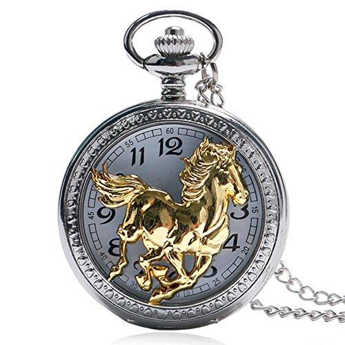 TOOGOO Regalo de Pendiente de Patrón Pentium Caballo Dorado Estilo Chino Collar de Reloj de Bolsillo de Las Se?Oras