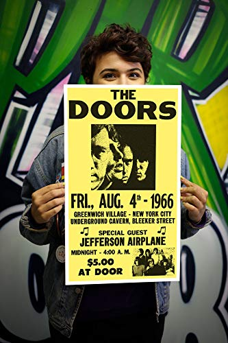 "The Doors - Jefferson Airplane - New York City 13""x22"" Vintage Style Showprint Poster - Concert Bill - Home Nostalgia Decor Wall Art Print"