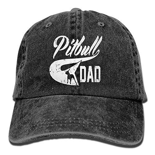 zhouyongz Pitbull Dad - Gorra de béisbol ajustable de sarga de algodón teñido, estilo vintage