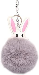 Sanwooden Cute Fluffy Ball Cartoon Rabbit Keychain Pendant Keyring Bag Hanging Ornament